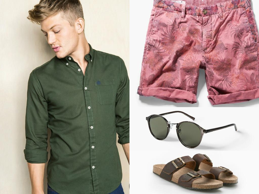 camisa-verde-militar-caqui-bermudas-look-hombre-playa