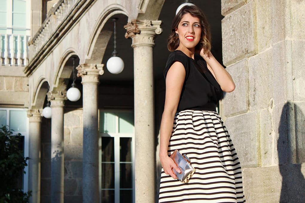 invitada-perfecta-boda-2015-falda-rayas-blanco-negro