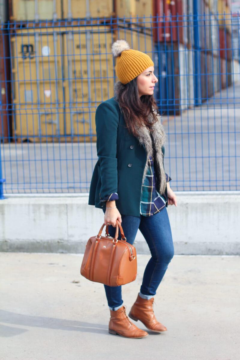 street-style-hat-street-style-blazer-americana-verde-botella