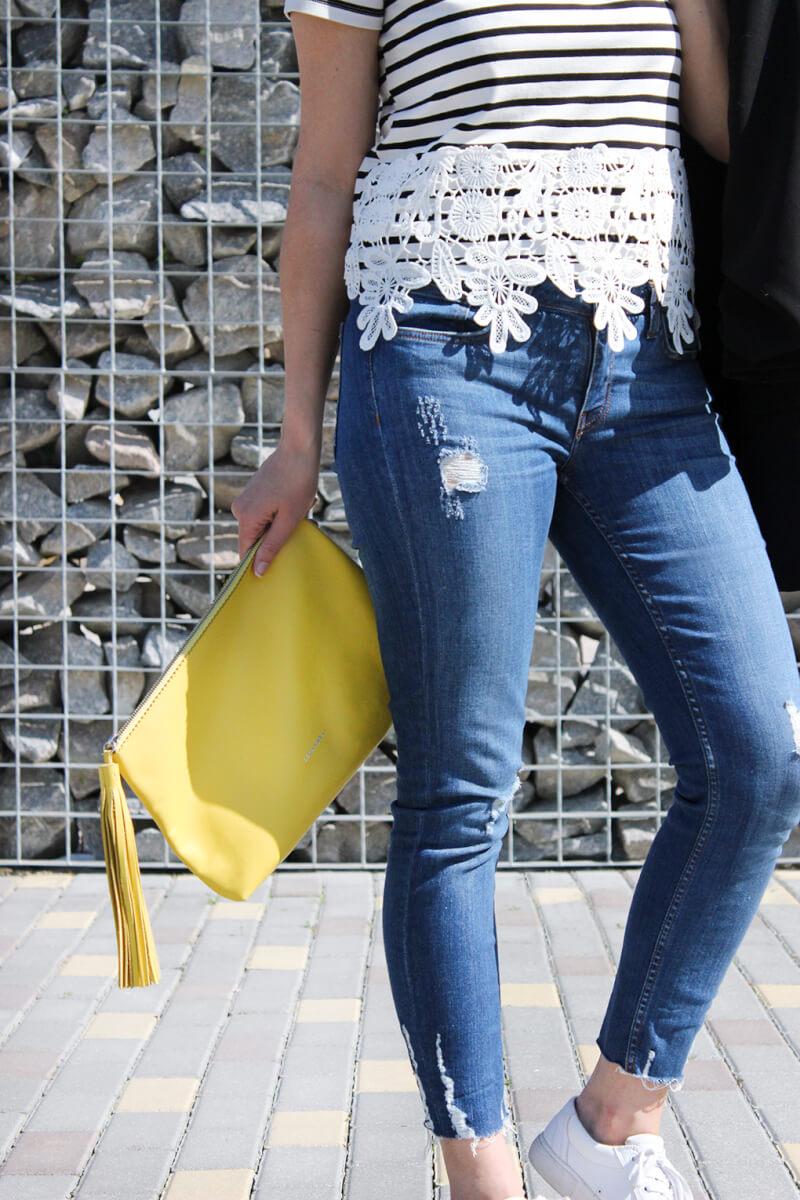 clutch-lacambra-amarillo-camiseta-rayas-encaje-guipur-blog-moda-españa