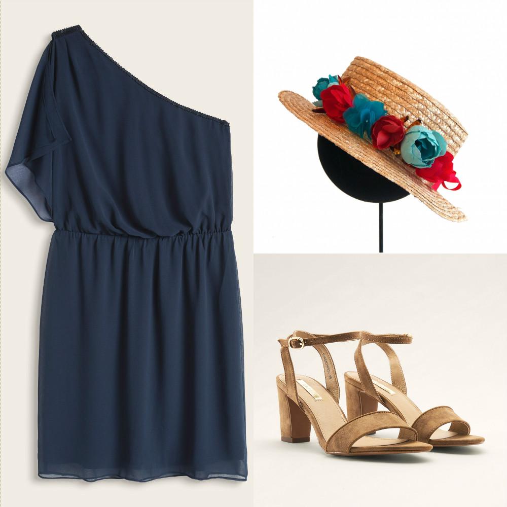 look-invitada-con-canotier-boda-con-un-vestido-sencillo