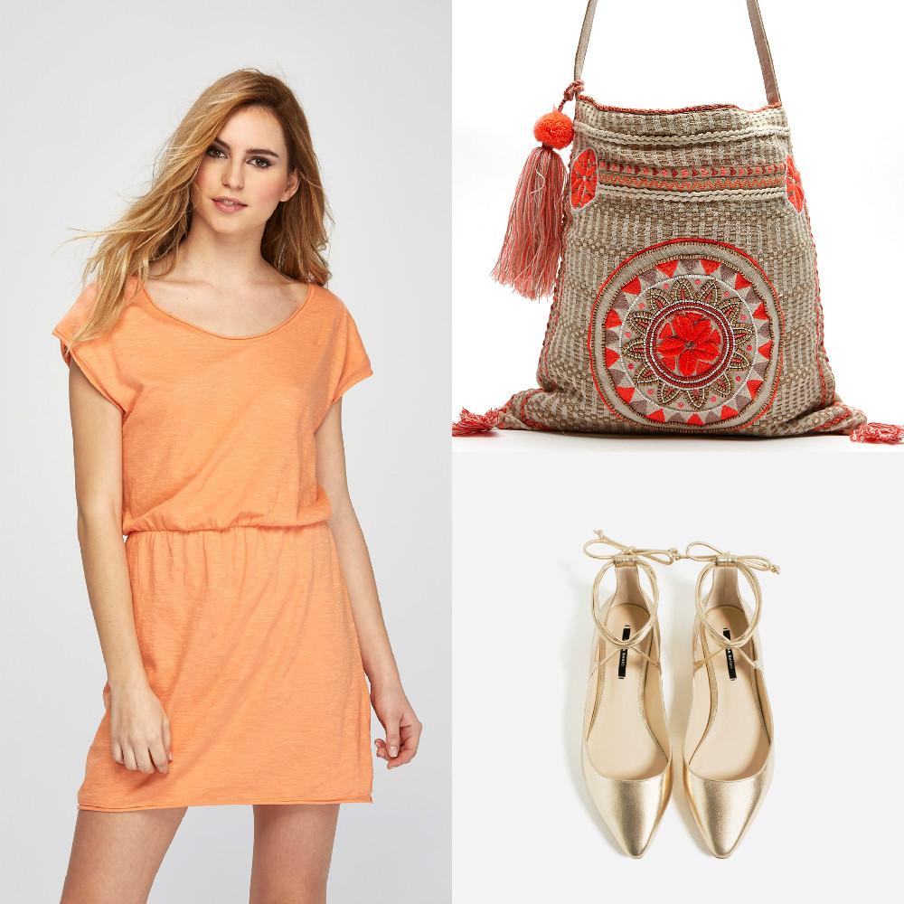 vestido-naranja-amichi-prendas-atemporales-verano-bailarinas-doradas