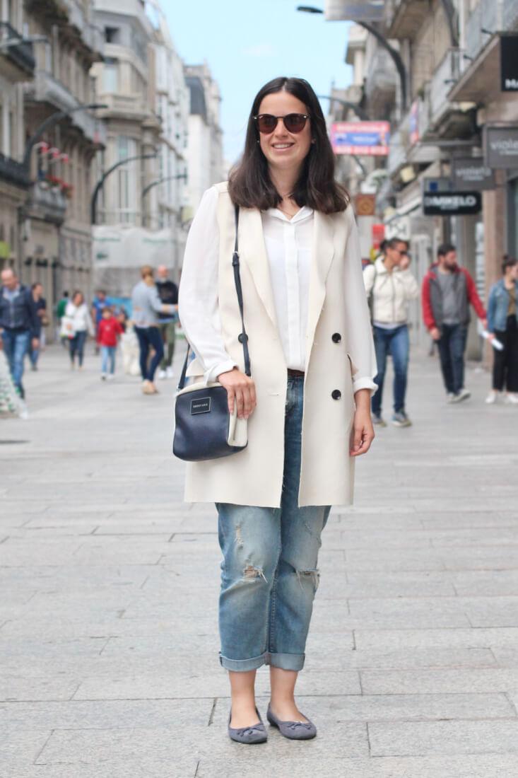 Chaleco largo blanco. Vigo Street Style