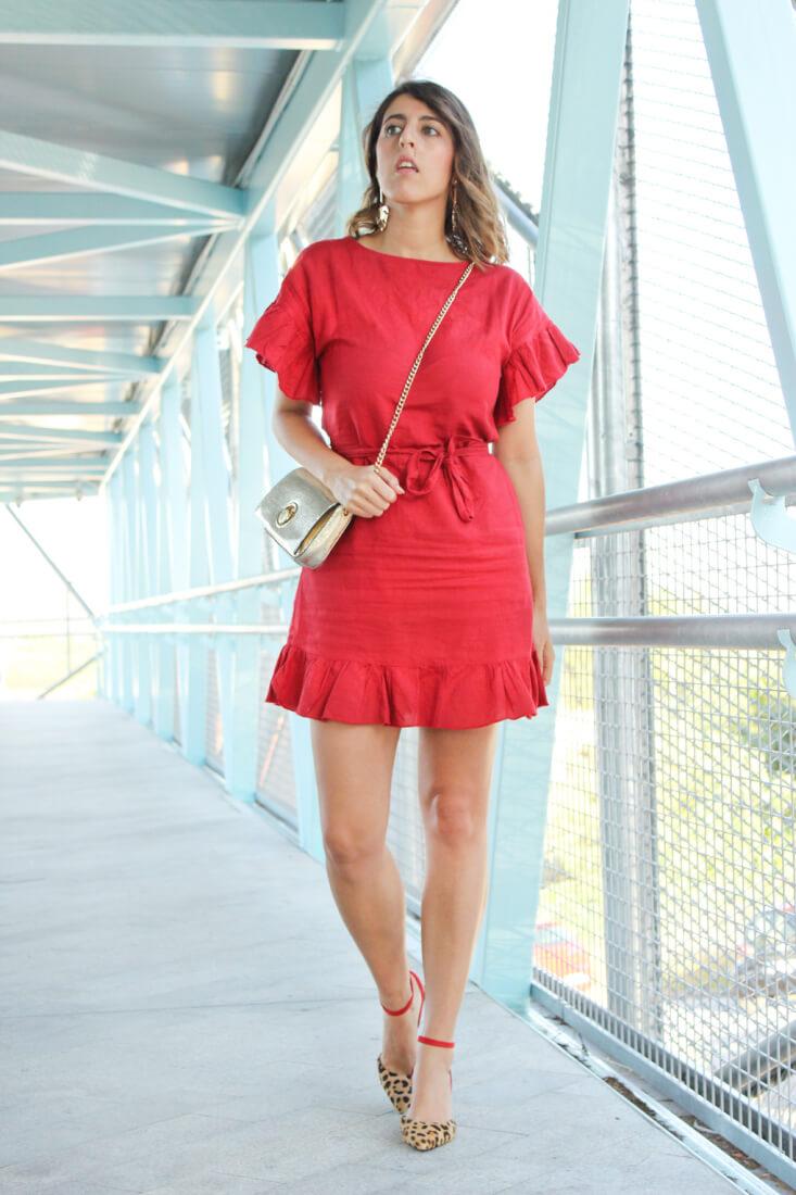 vestido-lino-rojo-con-volantes-mango-rebajas