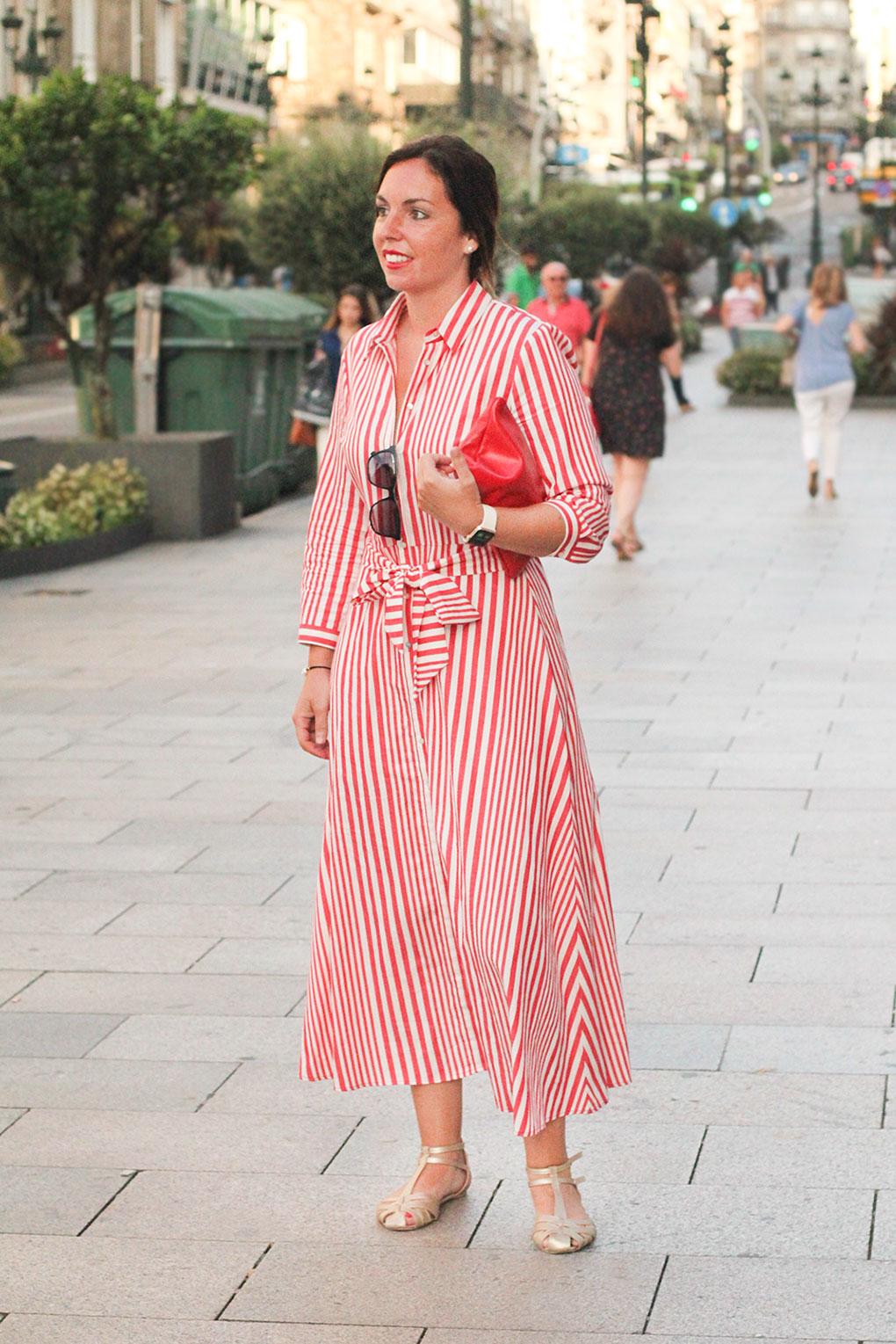 Vestido de rayas largo de Zara. Vigo Street Style Agosto.