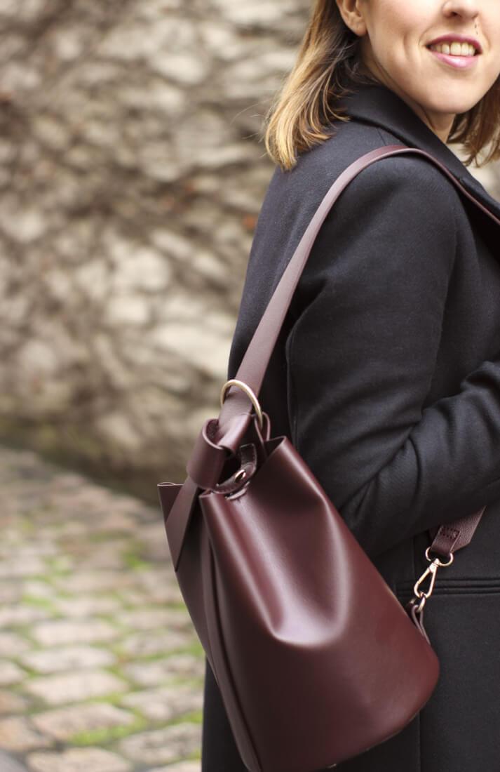 Bolso burdeos, accesorios Zara. Blog de moda Vigo