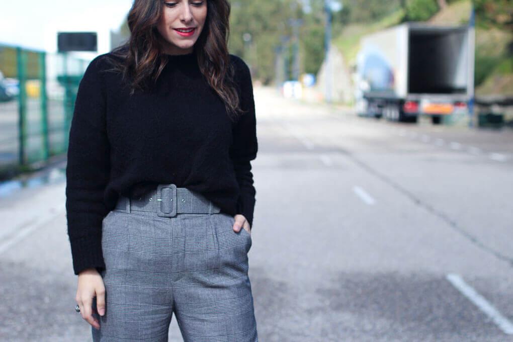 pantalones cuadros como combinarlos pantalones tiro alto