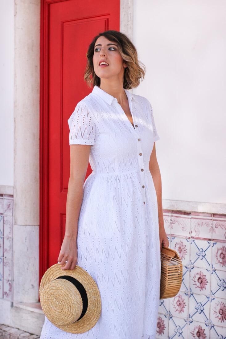 Vestido camisero blanco. Moda en Vigo