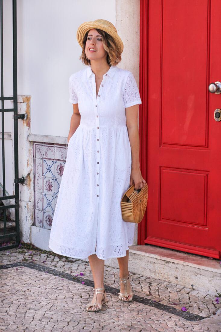 Vestido midi blanco de Mango