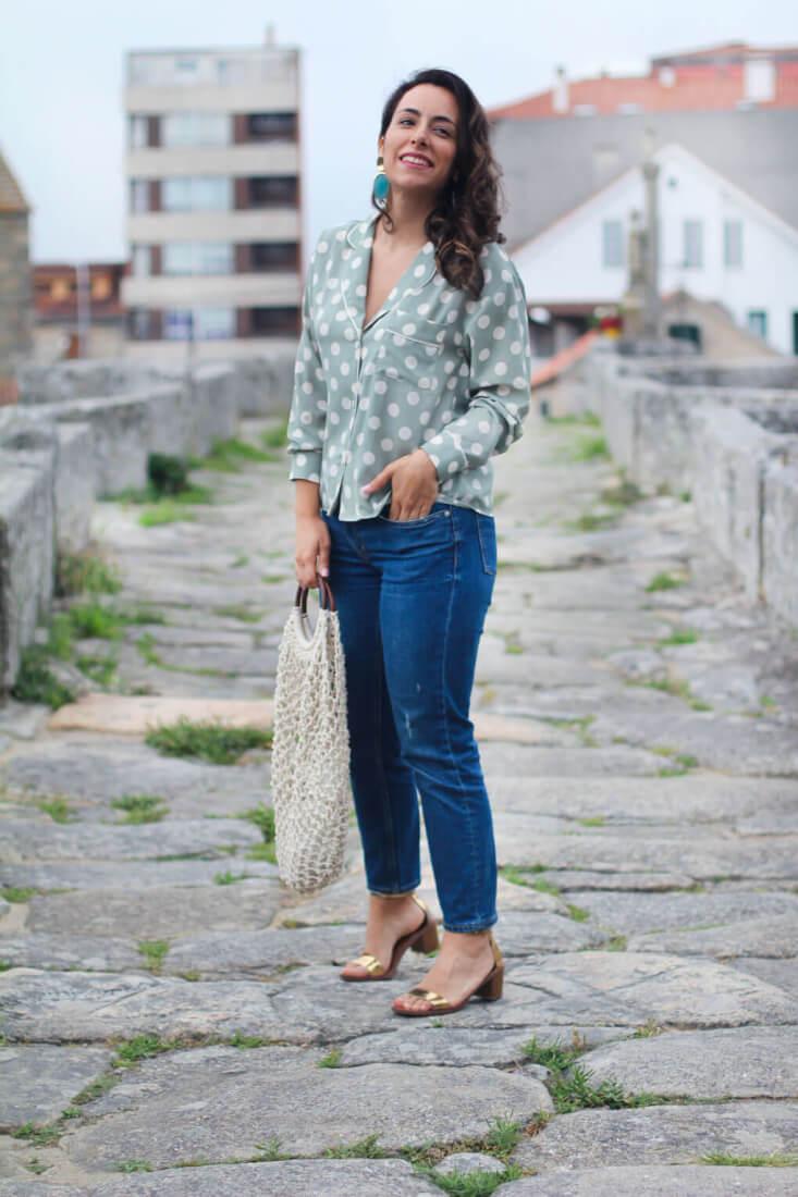 street style lunares blog moda pontevedra camisa pijama