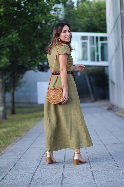 bolso balines vestido lino street style vestido midi