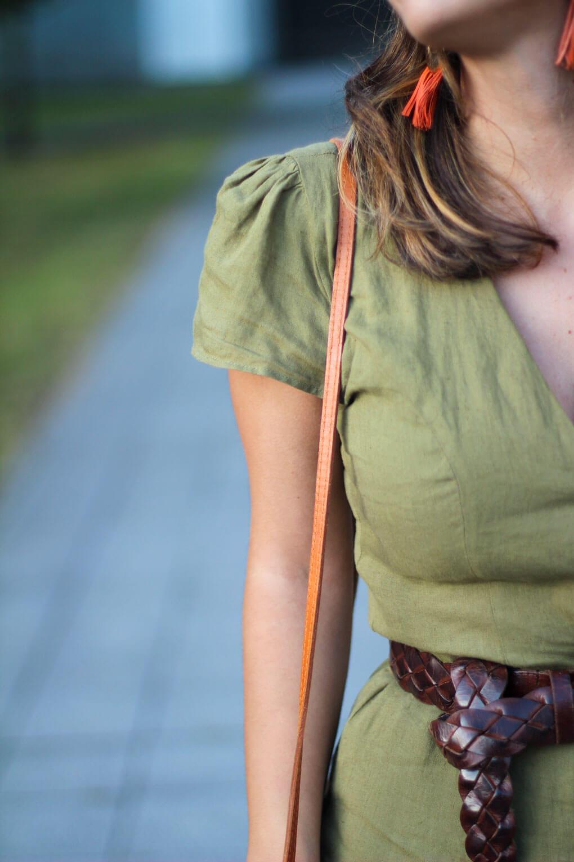cinturon trenza street style vestido lino vestido zara bolso balines