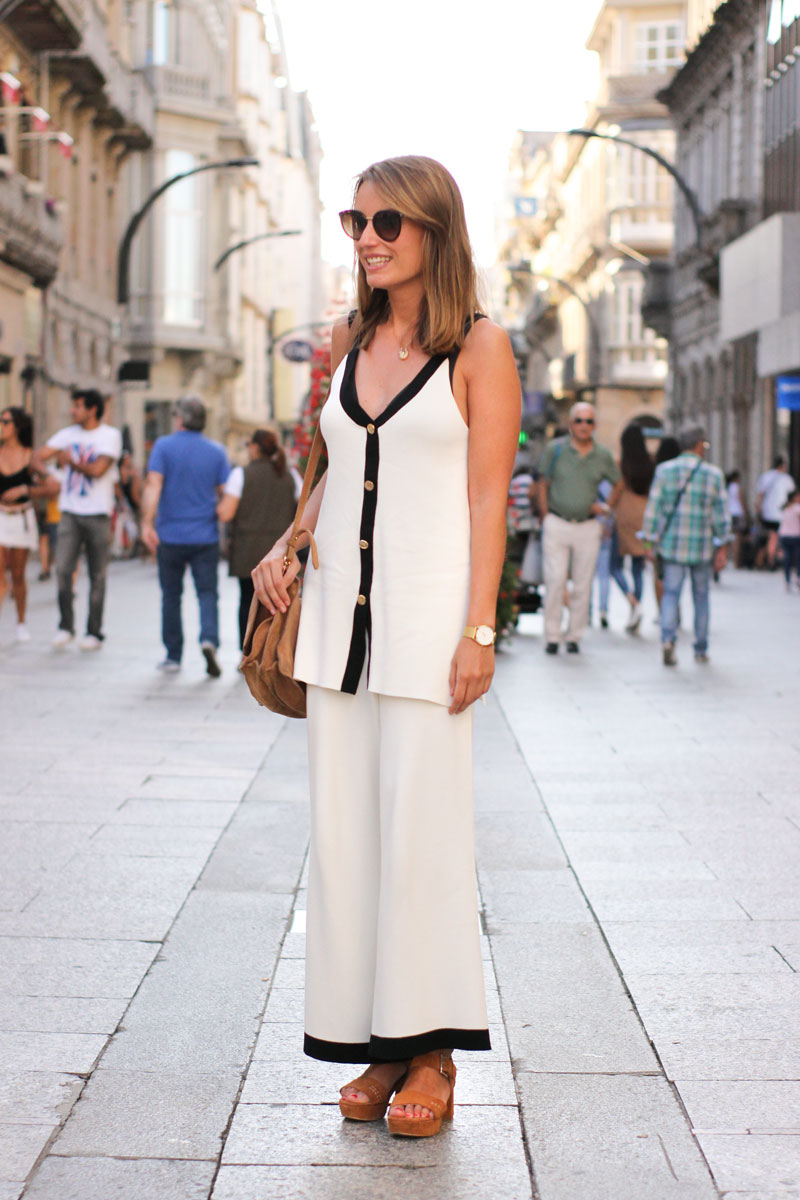 Conjunto dos piezas Zara. Street Style Agosto Vigo