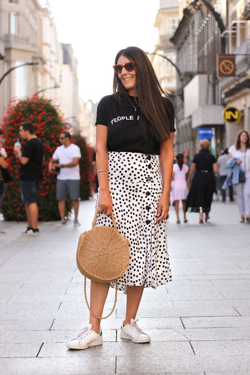 Falda lunares Zara. Street style Vigo Agosto