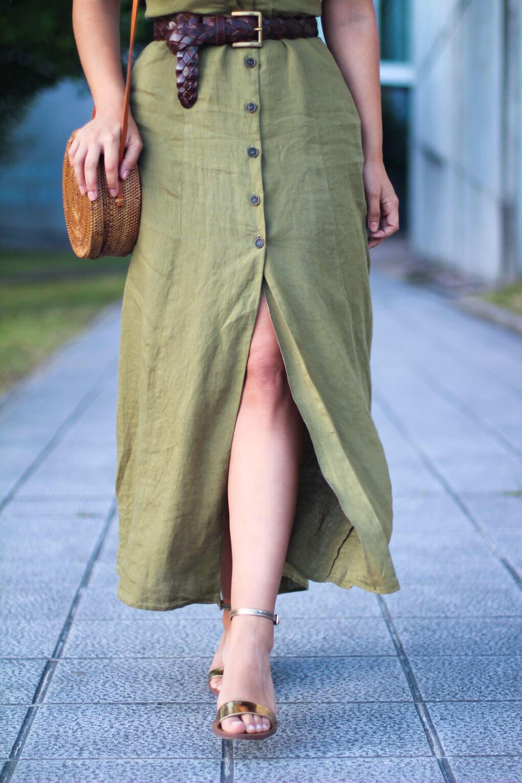 look con vestido lino look con bolso balines
