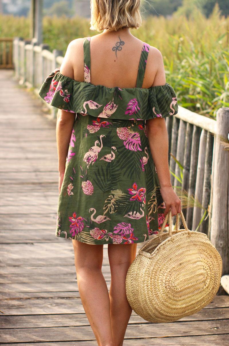 Vestido estampado flamencos
