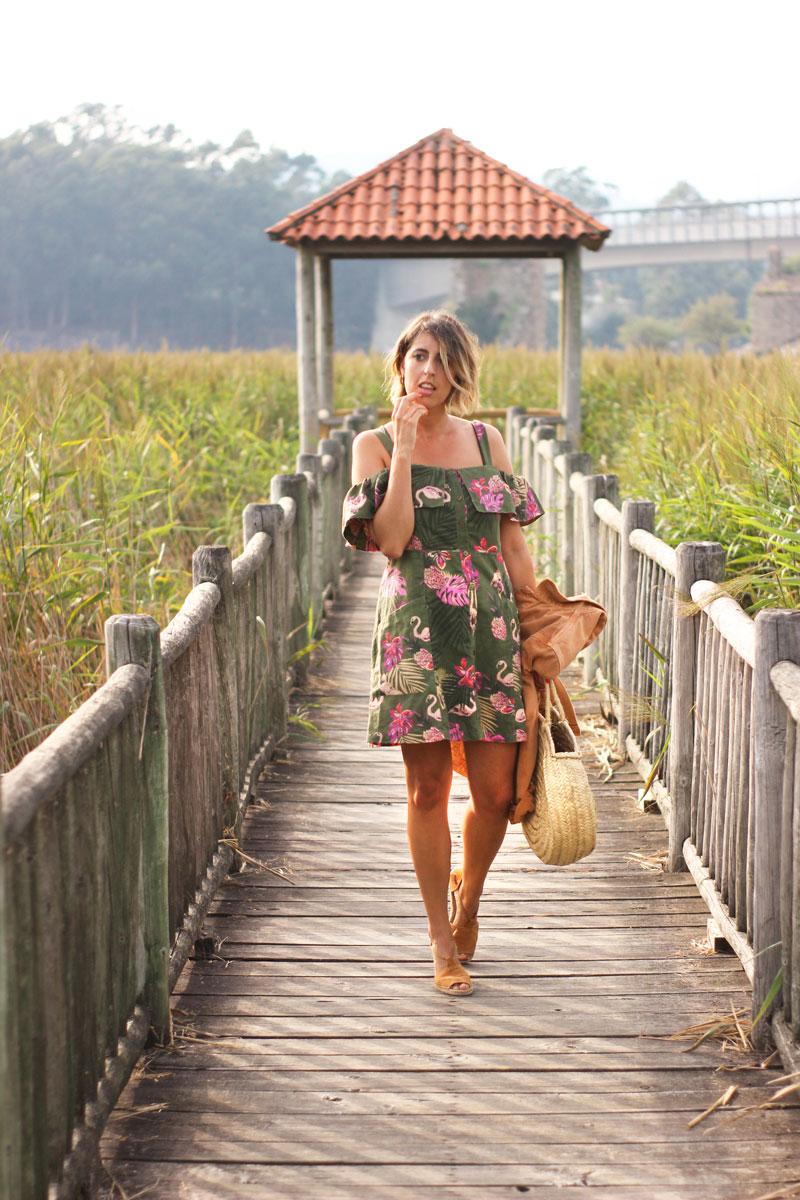 Vestido estampado Mango flamencos