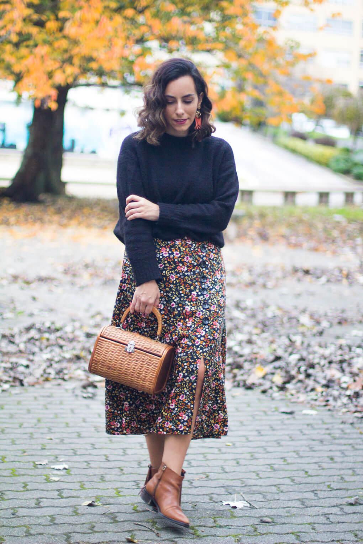 falda de flores blog moda vigo blog moda galicia look otoño street style winter