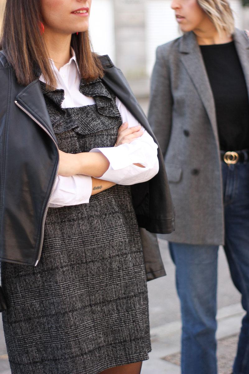 vestido-gris-principe-de-gales-biker-negra